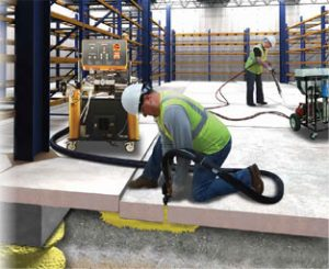 image of polyurethane foam injection under slab